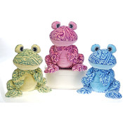 "Hennatude  - 10"" 3 Assorted Color Sitting  Frogs"