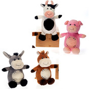 "9"" 4 Asst. Cuddle Farm Animals"
