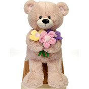 "14"" Sitting Bear With Flower Bouquet"