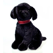 "10"" Sitting Black Labrador W/ Red Collar"