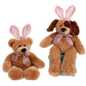 "17"" Cuddle Bear And Dog With Bunny Ears"