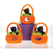 "6"" 3 Asst. Color Halloween Cats In A  Basket"