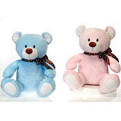 "14"" 2 Asst. Sitting Pink & Blue Bears W/"