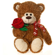 16&quot; Brown Bear Holding Rose