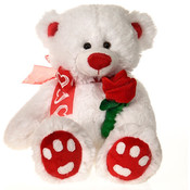 "14"" White Cuddle B/B Bear Holding Rose"