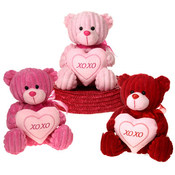 8&quot; 3 Asst. Sitting Bears Holding &quot;Xoxo&quot;