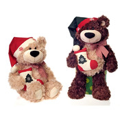 "18"" 2 Asst. Bean Bag Xmas Bears Holding"