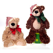 14&quot; 2 Asst. Bean Bag Bears W/Hat -