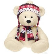 "25"" Beige Bear W/Braid Hat & Scarf"