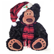 12&quot; Sitting Black Bear W/Xmas Hat And