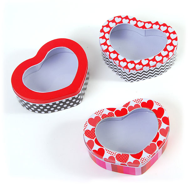 Tin VALENTINE Heart Shape Boxes with Clear Top in a Counter Top Display in 3 Assorted Designs [19346