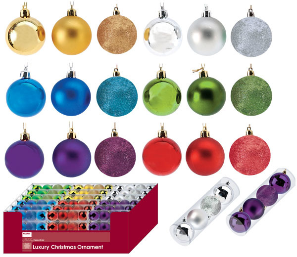 ''4 pack Solid Color Mixed Matte, Shiny and Glitter Ornament Balls in a tube [1924045]''