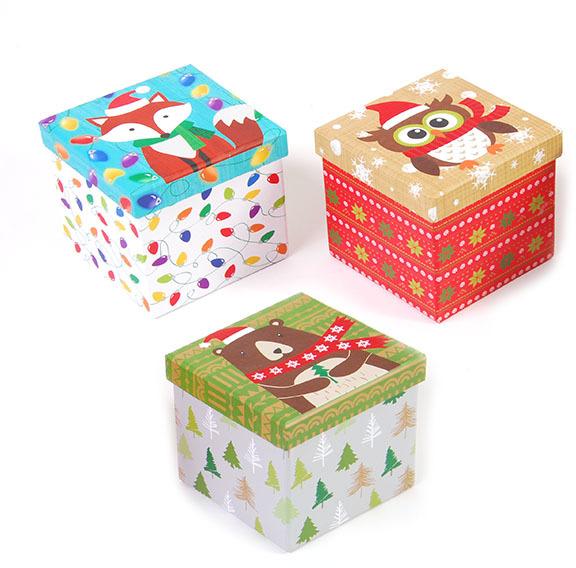 Wholesale square printed christmas boxes sku