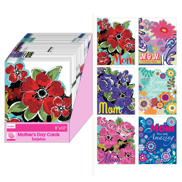6 Styles of Mother's Day Die Cut Greeting Cards and ENVELOPES with Glitter in a Counter Top Display