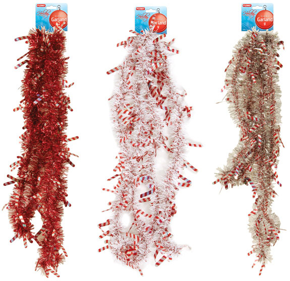 Wholesale christmas garland with die cut candy canes sku