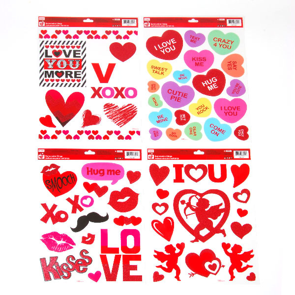 VALENTINE Removable Clings With Glitter in 4 Assorted Designs [1934618]
