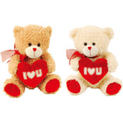 "Valentine 10"" Plush Bear with Embroidered Heart"