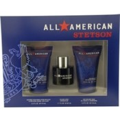 All American Stetson Set-Cologne Spray 1.7 Oz & Soothing Aftershave Lotion With Aloe 4 Oz & Hair And Body Wash 4 Oz By Coty Wholesale Bulk