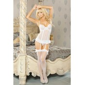 Plus Size Fitted White Babydoll With Garter Set - 2X