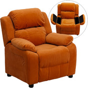 Deluxe Heavily Padded Contemporary Orange Microfiber Kids Recliner with Storage Arms