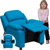 Deluxe Heavily Padded Contemporary Turquoise Vinyl Kids Recliner with Storage Arms