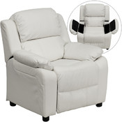 Deluxe Heavily Padded Contemporary White Vinyl Kids Recliner with Storage Arms