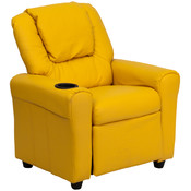 Contemporary Yellow Vinyl Kids Recliner with Cup Holder and Headrest