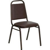 Trapezoidal Back Stacking Banquet Chair with Brown Vinyl and 1.5'' Thick Seat - Copper Vein Frame
