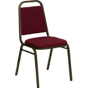 Trapezoidal Back Stacking Banquet Chair with Burgundy Fabric and 1.5'' Thick Seat - Gold Vein Frame