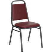 Trapezoidal Back Stacking Banquet Chair with Burgundy Vinyl and 1.5'' Thick Seat - Silver Vein Frame