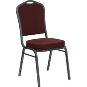 Crown Back Stacking Banquet Chair with Burgundy Patterned Fabric and 2.5'' Thick Seat - Silver Vein Frame