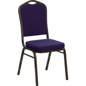 Crown Back Stacking Banquet Chair with Purple Fabric and 2.5'' Thick Seat - Gold Vein Frame