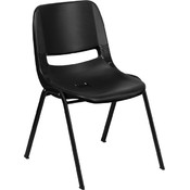 880 lb. Capacity Black Ergonomic Shell Stack Chair