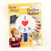 Baby Buddy American Baby Pacifier Holder I Love USA Wholesale Bulk