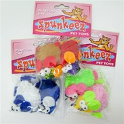 Spunkeez Cat Mice with Bells 2pk Assorted Colors