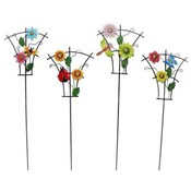 Metal Trellis Garden Stake with Flower Assortment Wholesale Bulk
