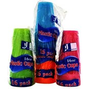 Plastic Cups 4 Neon Colors 16oz