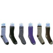 Mens 2-Tone Non-Slip Fuzzy Socks Assorted Colors Wholesale Bulk