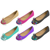 Ladies&#39; Embellished Ballet Flats w/Bow