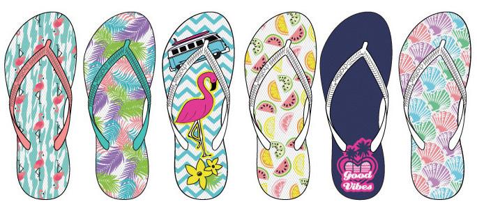 3cd350279171d Wholesale Women s Assorted Tropical Print Flip Flops (SKU 2288564)  DollarDays