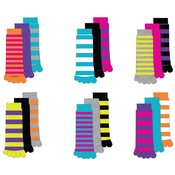 Women's Striped and Solid Toe Socks -3Pack