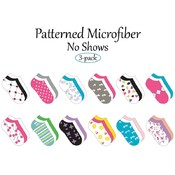 Ladies Micro No Show-Pattern Socks-  3 Pack