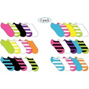 Ladies Micro Fiber No Show Socks W/ Neon - 5 Pack Wholesale Bulk