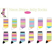 Ladies Stripe Jelly Crew Sock  - 1 Pack