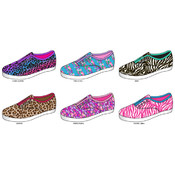 Ladies Printed Laceless Slip-on Sneakers