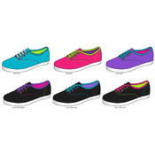 Ladies Neon Lace-Up Sneakers