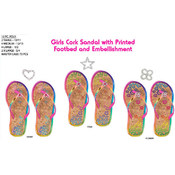 Girls Eva Cork Multicolor Embellished Flip Flops