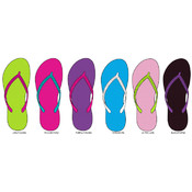 Ladies Basic Contrast Flip Flops Shoes