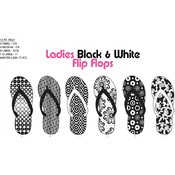 Ladies Black & White Flip Flops