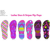 Ladies Stars and Stripe Bright Colored Flip Flops